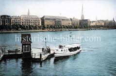Anleger des Alsterdampfers an der Lombardsbrücke - Blick über die Binnenalster zum Alsterdamm / Ballindamm.