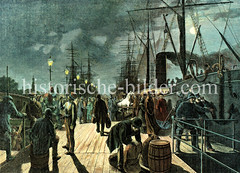 Abfahrt eines Dampfschiffs bei Nacht im Hamburger Hafen, ca.  1880.