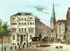 Blick von der Reesendammbrücke / Jungfernstieg über die Bergstraße zur Petrikirche, ca. 1840.