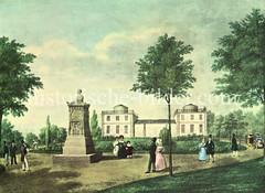 Die erste Hamburger Sternwarte stand ab 1802 auf der Albertusbastion am Stintfang, gegründet von Johann Georg Repsold - sein Denkmal steht im Vordergrund. Die zweite Sternwarte wurde 1826 in Verbindung mit einer Navigationsschule am Holstenwall