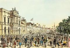 Spielbudenplatz in Hamburg - St. Pauli, ca. 1880.