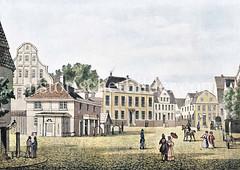 Blick über den Gänsemarkt zum Valentinskam, re. die Dammtorstraße - auf der linken Seite des Platzes das Wach- und Spritzenhaus.