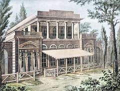 Neue Dröge in Altona, Restaurant im ägyptischen Stil - Architekt Kruse; abgebrannt 1813 - das Gebäude stand an der Langen Reihe in der Nähe von der Gaststätte Joachimstal.