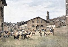 Schlachthaus in Hamburg in der Nähe der St. Michaeliskirche, eingeweiht 1841.