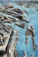 Alte Luftaufnahme vom Hamburger Jonashafen / Niederhafen - im Hintergrund der Sandtorhafen / Grasbookhafen /  Segelschiffhafen / Hansahafen; oben lks. der Baakenhafen und die Elbbrücken  (ca. 1923).