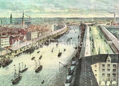 Blick vom Kaiserspeicher / Kaispeicher A auf den Sandtorhafen ca. 1875.