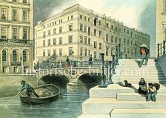 Historische Ansicht der Hamburger Innenstadt / Altstadt, ca. 1845 - Blick auf die Altenwallbrücke und das Mönckedammfleet; eine Schute mit Ladung wird vom Bootsführer unter die Brücke gestakt.