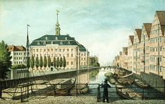 Blick von der Pulverturmbrücke auf das Herrengrabenfleet - lks. das Waisenhaus, im Hintergrund Schiffsmasten im Niederhafen, ca. 1840.