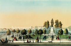 Schillerdenkmal beim Ferdinandstor in der Hamburger Altstadt - enthüllt 1866.