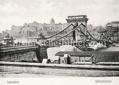 Historisches Foto von Budapest (ca. 1900); Kettenbrücke.