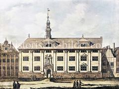 Altes Bild vom Waisenhaus in der Hamburger Neustadt, ursprünglich errichtet 1597 - Umbau / Ansicht ca. 1680.