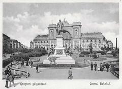 Historisches Foto von Budapest (ca. 1900); Central Bahnhof.