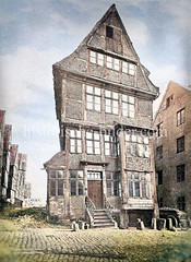 Historische Ansicht vom Haus an der Eselsbrücke - Wohnhaus am Sande, Hamburger Brook Insel ca. 1883.