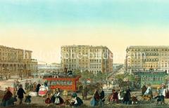 Blick über den Rathausmarkt Richtung Binnenalster, ca. 1865 - Fußgänger, Frauen in Trachten - spielende Kinder, Pferdeeisenbahnen.