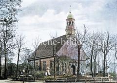Dreifaltigkeitskirche von Hamburg Hamm, ca. 1880 - geweiht 1693, Finanzierung durch wohlhabende Kaufleute, die Landhäuser in Hamm und Horn besaßen und den damals noch beschwerlichen Kirchweg nach St. Georg vermeiden wollten.