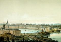 Historische Ansicht von der Hamburger Binnenalster und der Neustadt ca. 1857 - im Vordergrund re. die Windmühle an der Lombardsbrücke.