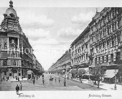 Historisches Foto von Budapest (ca. 1900); Andrassy Straße.