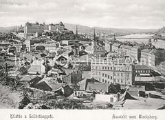 Historisches Foto von Budapest (ca. 1900); Aussicht vom Blocksberg.