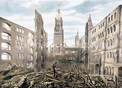Brandruine des 1875 gebauten Kaispeichers A / Kaiserspeichers in Hamburg auf dem Großen Grasbrook (1892).