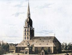 Altes Bild der Hamburger St. Jakobi-Kirche (ca. 1580) , ursprünglich errichtet 1391 - Umbau / Erweiterung 1580.