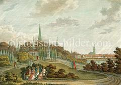 Blick vom Ferdinandstor auf das Hamburger Panorama mit den Kirchtürmen und der Binnenalster - in der Bildmitte das Büschdenkmal (ca. 1815).