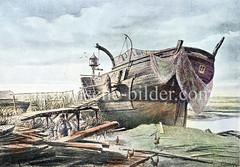 Schiffswrack auf Hamburg Steinwerder - Nutzung als Notwohnung mit Taubenschlag und Wäsche auf der Leine.