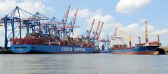 Containerschiffe im Hamburger Hafen; lks. Frachter am Terminal Tollerort, re. ein unbeladenes Feederschiff / Auflieger im Ellerholzhafen von Hamburg Steinwerder.