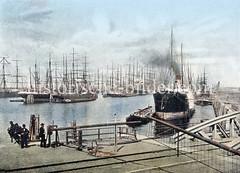 Altes Hafenbild aus dem Hamburger Segelschiffhafen. Blick in den Segelschiffhafen ca. 1890; dicht gedrängt liegen die Segelschiffe mit den hohen Masten am Kai oder an festgetäut an den Duckdalben auf Reede. Links der Amerikakai und rechts der Asi