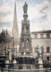 Kaiser Karl Brunnen am Alten Fischmarkt in der Hamburger Altstadt - errichtet 1890, Höhe 12 m.