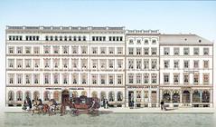 Historische Ansicht vom Jungfernstieg - Neubauten nach dem Hamburger Brand von 1842; Streit's Hotel, Schumacher Amt Haus, Juwelen Perlen Handlung.