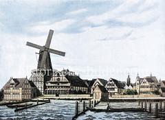 Historisches Motiv von Altona um 1700 - Fachwerkhäuser und Windmühle an der Großen Elbstraße.