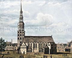 Die Hamburger St. Katharinenkirche wurde ursprünglich im 13. Jh. errichtet, erweitert / verändert - Ansicht ca. 1660.
