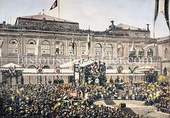 Grundsteinlegung vom Hamburger Rathaus 1886 - im Hintergrund die Börse.