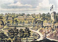 Historische Gartenanlage des Hof-Agenten A. C. Becker in Altona / Ottensen ca. 1800 - Badehaus, Gewächshaus, Turm und Rentiere.