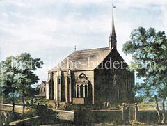 Historische Ansicht der Kleinen Michaeliskirche in der Hamburger Neustadt, errichtet 1605 - abgebrochen 1757.