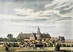 Hamburger Pesthof in der Nähe vom Heiligengeistfeld, ca. 1742 - die Anlage dient zur Absonderung und Heilung von Kranken; der Hof wurde 1814 von den Franzosen angezündet.