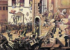 Zerstörung der katholischen Kapelle in der Hamburger Neustadt am Krayenkamp, 1719  - widerrechtlich  errichtet durch den kaiserlichen Gesandten Graf Metsch. Zur Strafe musste Hamburg u.a. das Stadthaus / Görtzpalais der kaiserlichen Gesandschaft ü