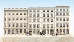 Historische Ansicht der Hermannstraße in der Altstadt - Neubauten nach dem Hamburger Brand von 1842.