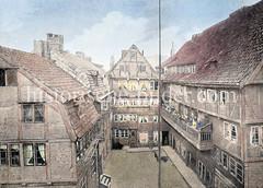 Historische Fachwerkbebauung - Wersau's Platz / Fuhlentwiete an der Stadthausbrücke in der Hamburger Neustadt.