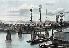 Der alte Hamburger Petroleumhafen ( ca. 1890); er lag im Areal des späteren Südwesthafens - das Hafenbecken für die gefährliche Ladung wurde um 1875 angelegt. Zwei Frachtsegler liegen am Kai - im Vordergrund Ruderboote aus Holz.