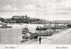 Historisches Foto von Budapest (ca. 1900); Schiffe auf der Donau.