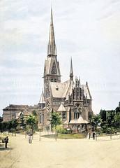 Christuskirche in Hamburg  Eimsbüttel, geweiht 1886 - neogotischer Backsteinbau - Architekt v. Otzen