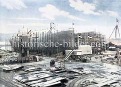Schiffswerft von Blohm & Voss auf Hamburg Steinwerder; ein Stapellauf ist geplant, die Rednertribüne ist aufgebaut.