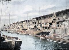 Historische Ansicht vom Altonaer Kai - Hafenbetrieb mit Dampfer, Kränen und Schuten / Binnenschiffe, ca. 1890.