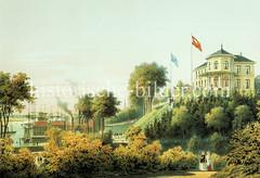 Blick von der Elbhöhe / Stintfang um 1860 zu Wietzel's Hotel - im Hintergrund die St. Pauli Landungsbrücken.