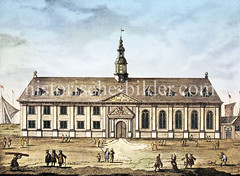 Historisches Motiv vom Hamburger Werk- und Zuchthaus für arbeitsscheue und liederliche Personen, Trunkenbolde und ungezogene Kinder nahe des Alstertors - im Hintergrund sind Segel auf der Aussenalster zu erkennen - eingeweiht 1674 (ca. 1680).