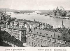 Historisches Foto von Budapest (ca. 1900); Blick über die Donau zur Margarethen Insel.