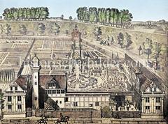 Alter Renaissance-Garten um 1700 in der Nähe des Dammtors - Sommerhaus von Hamburgs Bürgermeister Lütkens.
