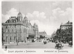 Historisches Foto von Budapest (ca. 1900); Westbahnhof am Theresienring.