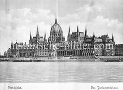 Historisches Foto von Budapest (ca. 1900); Parlamentshaus.